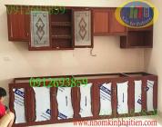 Tủ nhôm kính, tủ bếp nhôm vân gỗ tại Hoàng Quốc Việt HN giá rẻ
